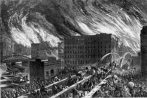 In 1871 in the early night hours of Sunday, a fire started on the OLeary property at 137 DeKoven Street that would spread to destroy some four square miles in Chicago and kill hundreds of people.