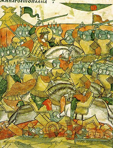 In 1242 Novgorod was under heavy pressure from both the East and the West. In the east the Golden Horde loomed, while Novgorod was repeatedly invaded from the west during the Northern Crusades. And when the Teutonic Order invaded once again Alexander, elected Prince of Novgorod, marched against them with a substantial army. Meeting the Teutonic forces, led by Hermann the Prince-Bishop of Dorpat, near the bank of Lake Peipus. Hoping to draw the knights into a disadvantageous position Alexander withdrew across the narrow strait connecting Lake Peipus with neighbouring Lake Pskovskoe.