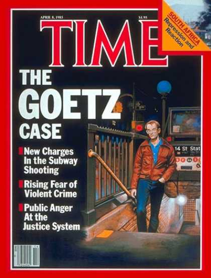 In 1984 on a cold Saturday afternoon, five gunshots rang out on the New York City Subway, heralding a new age of vigilante justice in major American cities. Bernard Goetz, carrying electronics in transport for his business, boarded the No. 2 Express bound for downtown, where he ran across four young men.