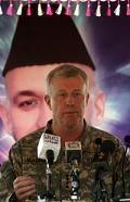 In 2009 on this day the NATO commander in Afghanistan General David McKiernan (pictured, left) was fired by Defense secretary Robert Gates. McKiernans replacement would be General Stanley McChrystal, previously the head of the Joint Special Operations Command and therefore considered more able to lead the new strategy devised by the President - counter-insurgency raids across the border into the former Pakistan. 