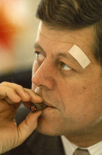 In 1962 on this day at 10:00 AM, President John F. Kennedy met with Secretary of State Dean Rusk and Secretary of Defense Robert McNamara and approved the plan to threaten preemptive nuclear strike. Tensions between the United States and the Soviet Union had never been tauter.